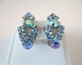 Blue Aurora Borealis Rhinestone Clip On Earrings on a Silver Tone Setting