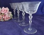 4 Gorgeous Cut Crystal Champagne Glasses or Wine Goblets with Detailed Stem - Set of Four - Elegant Stemware - Elegant Barware