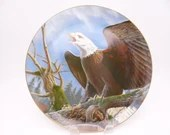 """Vintage Larry Toschik """"Freedom's Symbol"""" Bald Eagle Limited Edition Large Collectible Plate"""