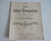 "Rare 1892 Pianoforte Sheet Music ""Sechs brillante Vortragsetuden"" Ludvig Schytte - No. 1"
