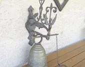 Victorian Style Monastery Brass Door Bell Door Knocker - Whoever Touches Me Hears My Voice Inscription - Cool Decor Piece