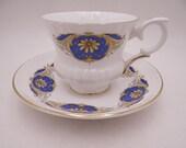 1950s Vintage English Bone China Staffordshire Teacup and Saucer Set English Tea Cup B905