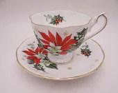 """1960s Vintage Queen Anne English Bone China """"Noel"""" Christmas Teacup and Saucer set Poinsettia Tea Cup"""