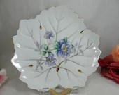 1950s Hand Painted Leaf Serving Dish