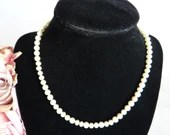 Vintage Cream Faux Pearl Choker Necklace with Rhinestone Accented Sterling Silver Clasp Classic and Elegant