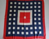 """Lovely Vintage Miss Balmain Paris Red White and Blue Geometric Pattern Scarf 28"""" by 30"""""""