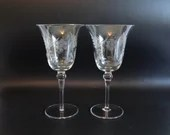 Pair of Pretty Vintage Colony Danube Cut Glass Wine Goblets Water Goblets Glasses an Elegant Barware Set - Floral and Leaf Design