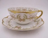 Spectacular 1900s Antique Vintage Haviland & Co. Factory Decorated Limoges Teacup and Saucer Set French Tea Cup