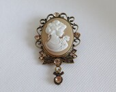 Vintage Reproduction Victorian Cameo Brooch Pin with Amber Rhinestone Accents on Antiqued Gold Setting