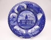 """Vintage 1900s Flow Blue Rowland & Marsellus Staffordshire Souvenir Plate """"Souvenir of Denver"""""""