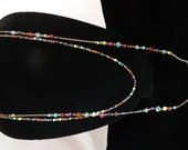 """2 Strand Blue Pink Yellow and Teal Colored Beaded Chain Necklace - 27"""" Long"""
