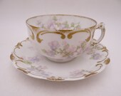 Spectacular 1900s Antique Vintage Haviland & Co. Factory Decorated Limoges Teacup and Saucer Set French Tea Cup - 12 Available Schleiger 228