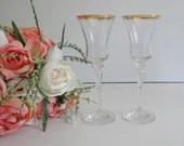 Set of 2 Lenox Jamestown Crystal Wine Goblets Glasses with Gold Trim - 2 Sets Available for a Total of 4
