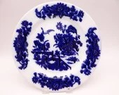 """1862 to 1890 Antique G.L. Ashworth English Bone China Flow Blue and White """"Yedo"""" Dinner Plate"""