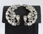 Vintage Cresent Shaped Clear and Smoky Rhinestone Clip Earrings on Silver Tone Setting