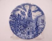 """Vintage Liberty Blue Historic Colonial Scenes Blue and White Coaster """"Old North Church"""" -  5 available"""