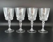 """Four Cristal d'Arques Durand Chantelle Crystal Water Wine Glass Water Goblets - 7"""" Elegant Stemware - Crystal Wine Goblet"""