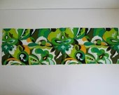 """Vibrant Vintage Bright Green Orange Black and White Flower Pattern Scarf 44"""" by 14"""""""