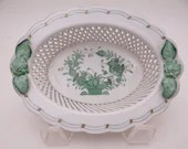 """Vintage Herend Hungary Hand Painted """"Chinese Bouquet"""" Green 5"""" Oval Open Weave Basket Bowl Just Beautiful Ring Dish"""