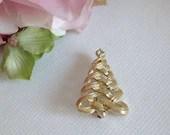 Vintage Avon Gold Tone Tree Brooch Pin Tie Tack - Book Piece