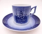"Royal Copenhagen 1983 Christmas Demitasse Espresso Cappuccino Cup and Saucer Set ""Merry Christmas"" Christmas Teacup"