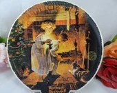 """1979 Edwin Knowles Norman Rockwell """"Somebody's Up There"""" Christmas Collector Plate Limited Edition"""