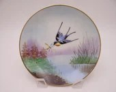 1940s Vintage Hand Painted Stouffer Fine China Small Blue Bird Plate - Lovely