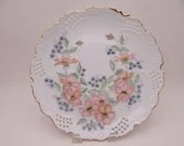 1950s Vintage Hand Painted and Artist Signed Pink Orchid Reticulated or Lattice Cabinet Serving Plate Stunning