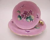 Spectacular Hand Painted Vintage Japan Pink and Purple Orchid Teacup and Saucer - Just Amazing