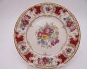 """Vintage Syracuse China Made in the USA """"Romance"""" Maroon Bread and Butter Plate"""