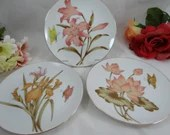 Set of 3 1950s Vintage Orchid and Butterfly Bread and Butter Plates