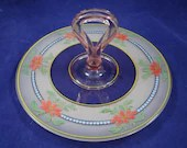 Pink Glass Handpainted Frosted Glass  Depression Tidbit Sandwich Serving Tray with Coral Flowers Blue Dots and Green Leaf Design