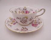 Beautiful Vintage Royal Chelsea English Bone China Teacup and Saucer set Floral Tea Cup