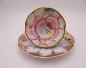 Spectacular Hand Painted Vintage Ohashi China Japan Pink Rose Demitasse Cappuccino Espresso Teacup and Saucer - Just Amazing