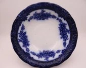 """1891 to 1907 Antique Wood & Son English Bone China Flow Blue and White """"Victoria"""" Round Vegetable or Serving Bowl or Fruit Bowl"""