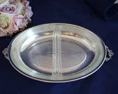 Vintage Gorgeous Silver Plate Oval Serving Tray with Divided Glass Insert Elegant Serving Piece - 2 Available