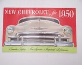 """Vintage Original """"New Chevrolet for 1950"""" Dealer Brochure Foldout Poster"""