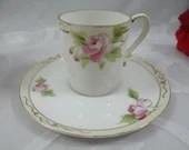 1910s Vintage Hand Painted Japanese Nippon Cappuccino Espresso Demitasse Pink Rose Cup and Saucer Tea Cup 5 Available