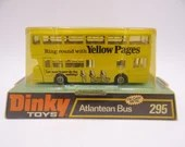 """Sealed MIB Vintage Dinky Toys 295 Atlantean Bus """"Yellow Pages""""  Die Cast Toy Car Bus in Original Box"""