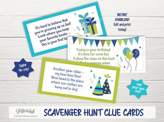 Birthday Scavenger Hunt Clues Treasure Hunt Clue Cards Etsy