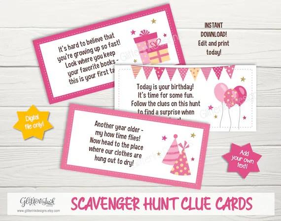 Birthday Scavenger Hunt Clue Cards Treasure Hunt Clues Etsy