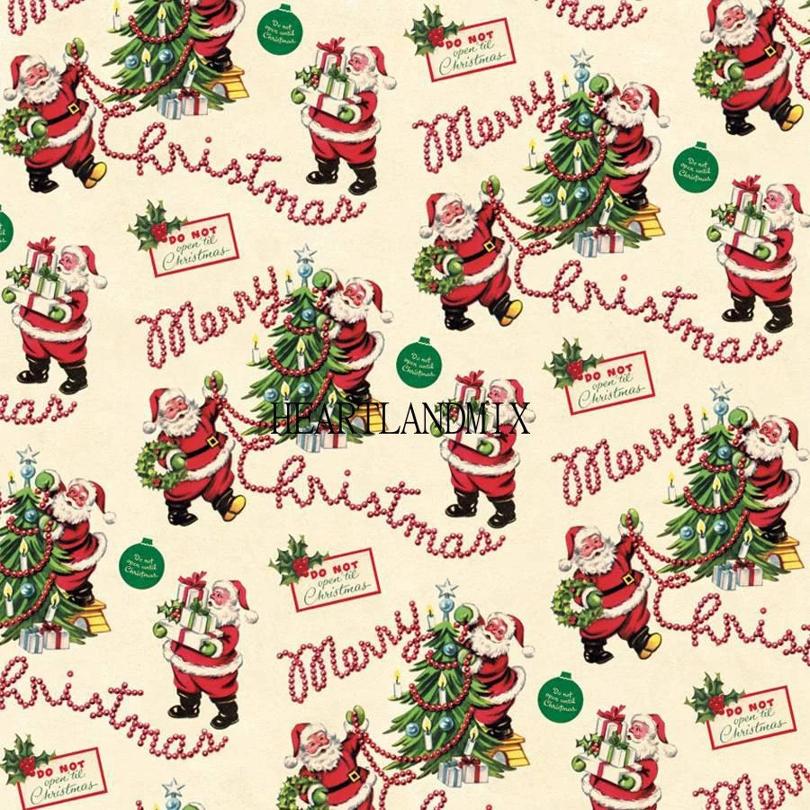 Vintage Retro Holiday Merry Christmas Wrapping Paper