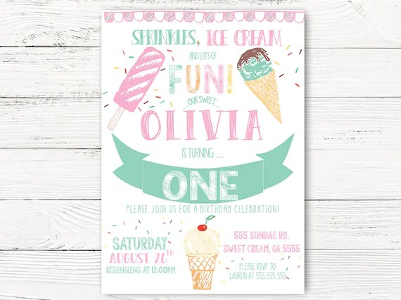 Ice Cream Birthday Invitation Girl First Birthday Personalized Ice Cream Social Invitation Girl 1st Birthday Invitation Cards C115 By Swanky Party Box Inc Catch My Party