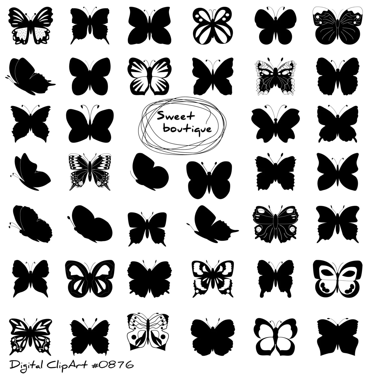 Butterfly Silhouettes Clipart Clip Art Butterfly Clipart
