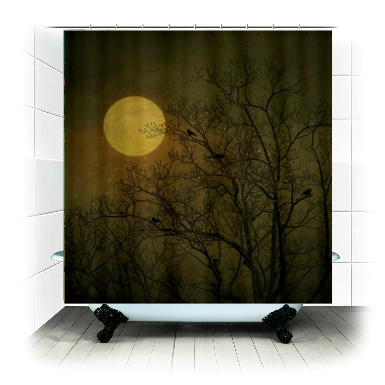 Fabric Shower Curtain Dark Night Birds Full Moon Stars Photography Bathroom Home Decor Sunset Sun Colorful Nature