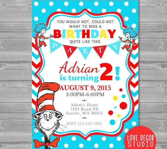Dr Seuss Birthday Invitation Personalized Blue And Red Dr Etsy