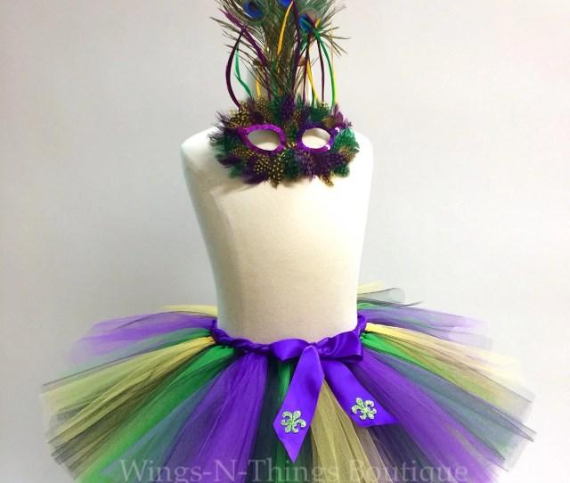 Adult Mardi Gras Costume Tutu Skirt Pc Set W Peacock Feather Mask Woman Women Teen Fleur De Lis New Orleans Dance Running Marathon
