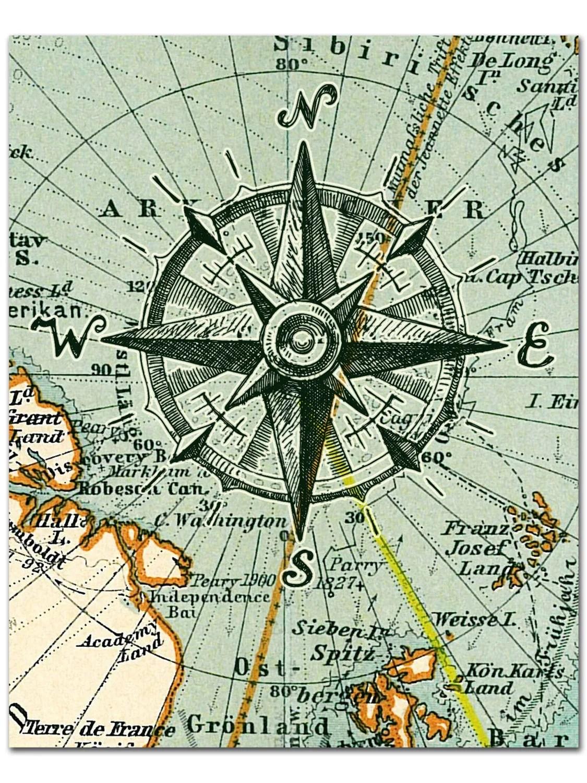 Nautical Map Compass Print Compass On Map Poster Nautical