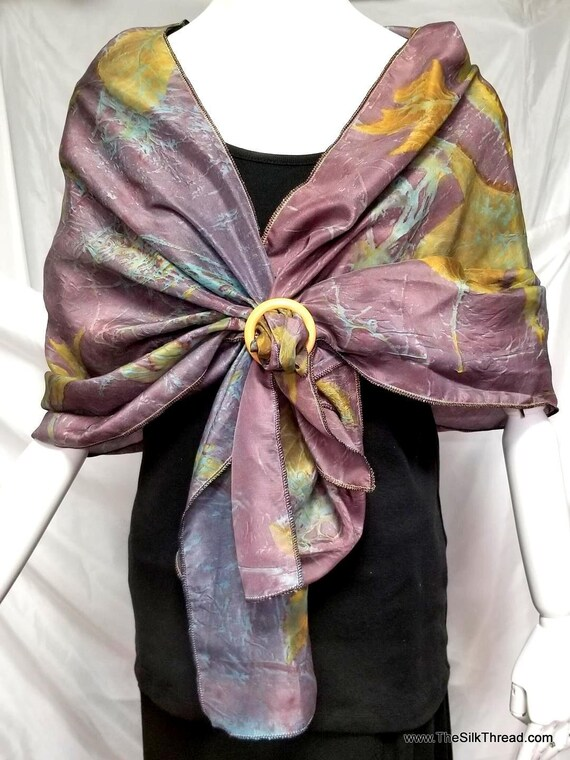 "Ecoprinted Silk Wrap, Beautiful Purple & Turquoise from Natural Dyes and Plants, Renewable,Sustainable Art By artist, 24"" x 72""Free USA Ship"