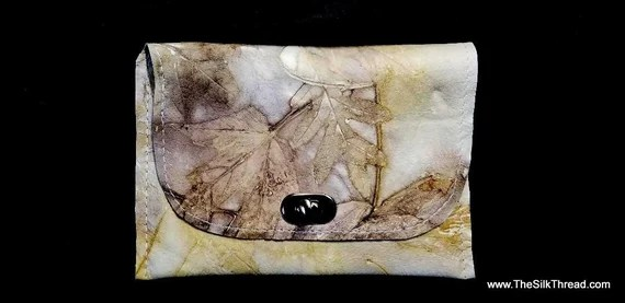 Ecoprinted Leather clutch Bag, Natural Designs and Colors Created from Actual Plants, Handcrafted by Artist, Purse, Clutch,Free USA Ship